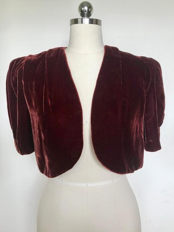 1930s Burgundy Silk Velvet Cropped Jacket [sm/med]