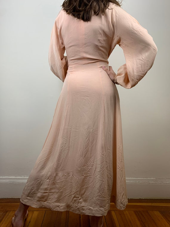 1930s Blush Rayon Crepe Bishop Sleeve Gown [xs/sm] - image 6