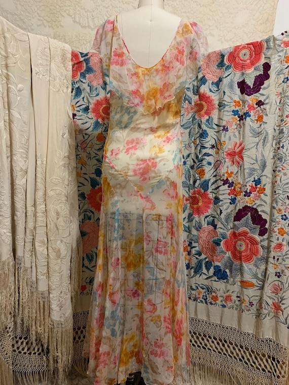 1930s Pastel Floral Silk Chiffon Bias Cut Dress [… - image 7