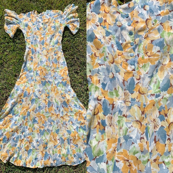 1930s Flutter Sleeve Floral Cotton Voile Gown [xs/