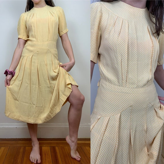 1930s Yellow Cold Rayon Puffed Sleeve Dress [sm/me