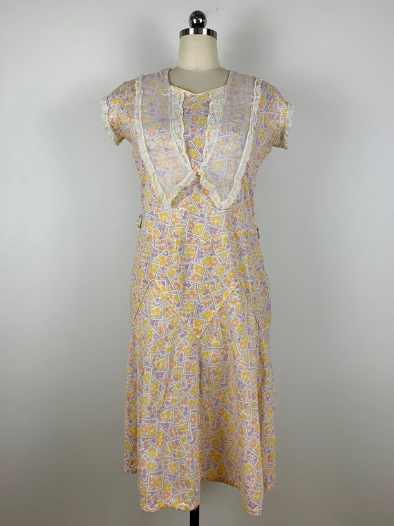 1930s Betty Baxley Deco Print Cotton Frock [sm/med