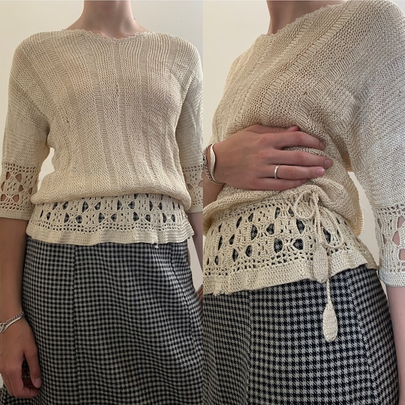 1930s Rayon Knit Sweater with Crochet Details [xs/