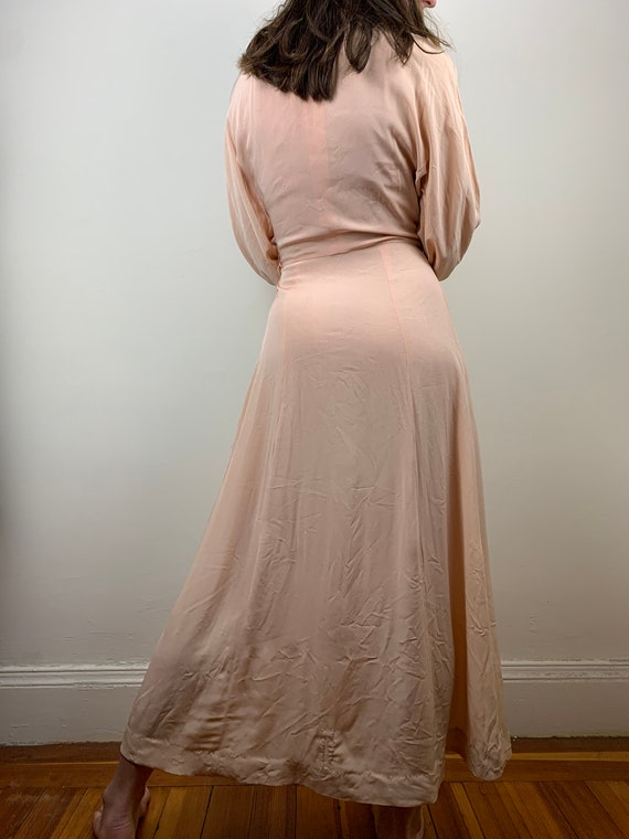 1930s Blush Rayon Crepe Bishop Sleeve Gown [xs/sm] - image 5