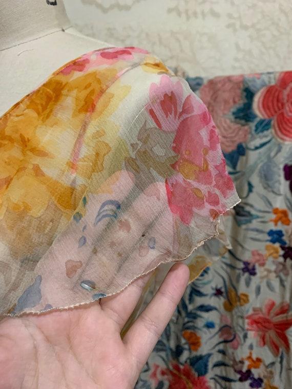 1930s Pastel Floral Silk Chiffon Bias Cut Dress [… - image 6