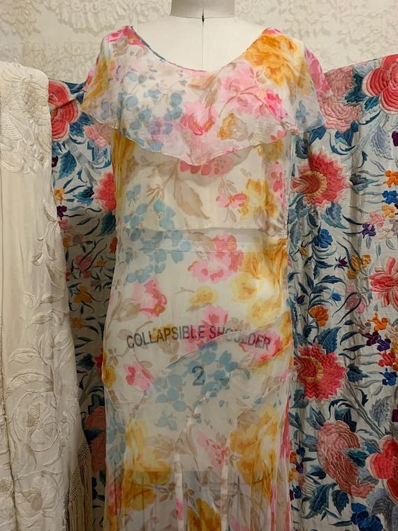 1930s Pastel Floral Silk Chiffon Bias Cut Dress [… - image 3