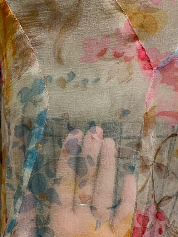 1930s Pastel Floral Silk Chiffon Bias Cut Dress [… - image 8