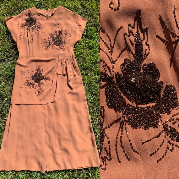 1940 Rust Rayon Crepe Dress with Beading [lrg/xl]