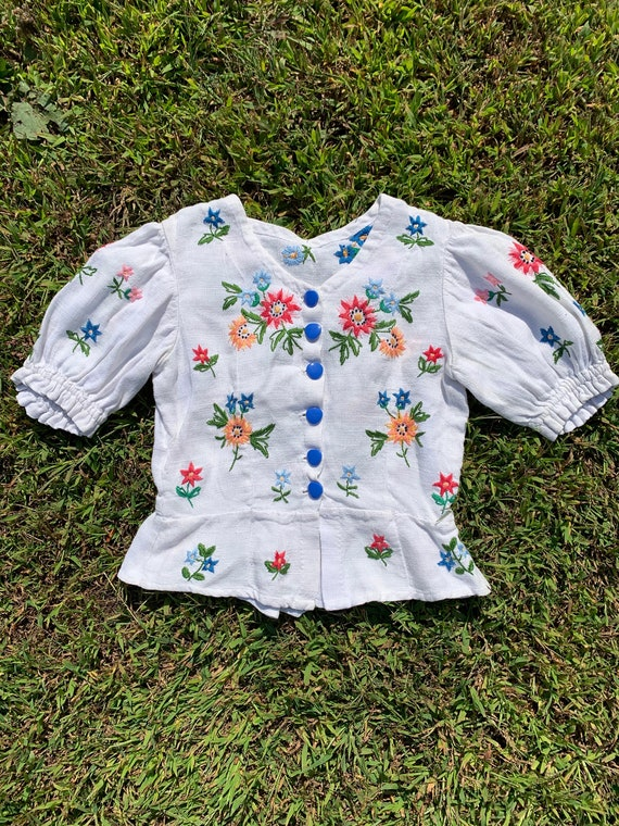 1930s Linen Embroidered Puffed Sleeve Blouse [xs/s