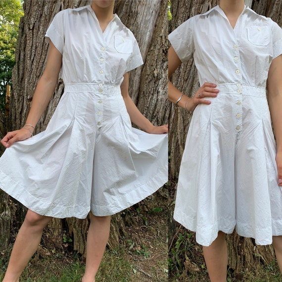 1940s White Cotton Tennis Romper [xs/sm]