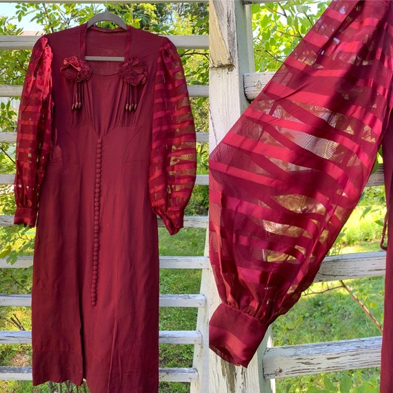 1930s Burgundy Rayon Dress with Balloon Sleeves [m