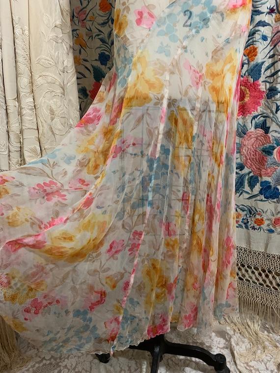 1930s Pastel Floral Silk Chiffon Bias Cut Dress [… - image 4