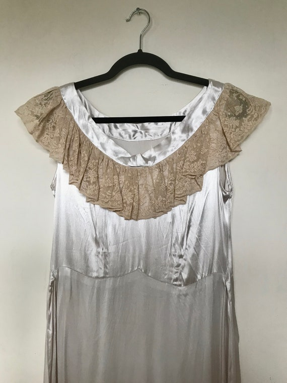 1930s Rayon Charmeuse Slip Dress with Lace Collar