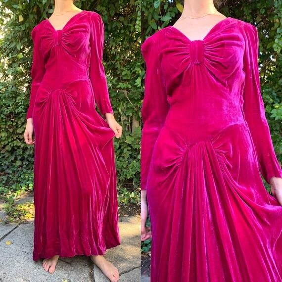 1940s Fuchsia Silk Velvet Bow Gown [xs/sm]