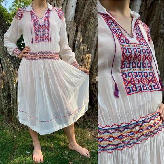 1920s Hungarian Geometric Embroidered Dress [xs/sm