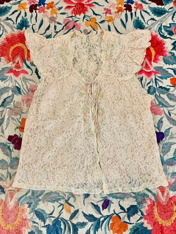 1930s Pastel Floral Embroidered Lace Lingerie Blou