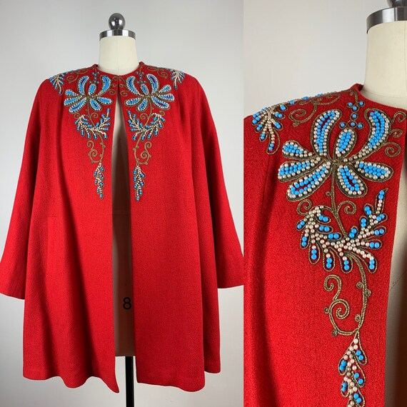 1940s Red Wool Swing Jacket with Beading [med/lrg]