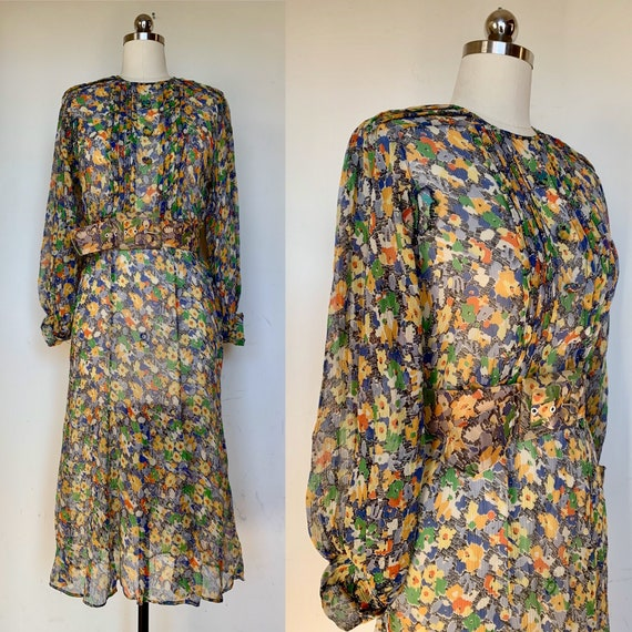 1930s Green Blue Floral Silk Chiffon Dress [sm/med