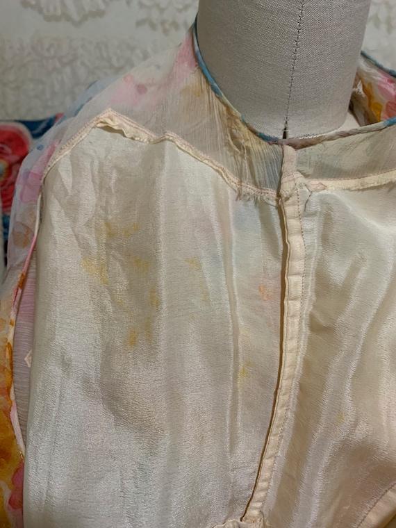 1930s Pastel Floral Silk Chiffon Bias Cut Dress [… - image 9