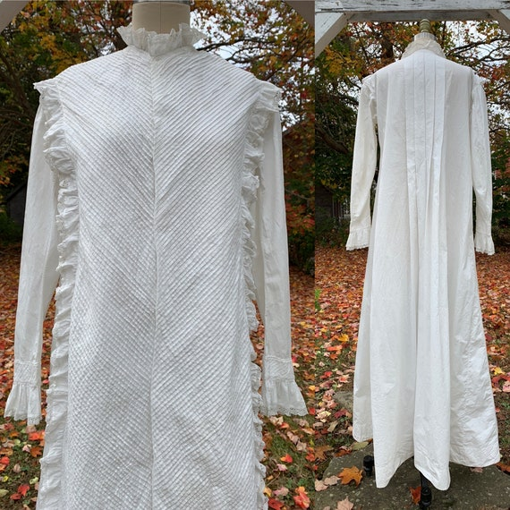 Victorian White Jacket Wrapper Dress with Watteau