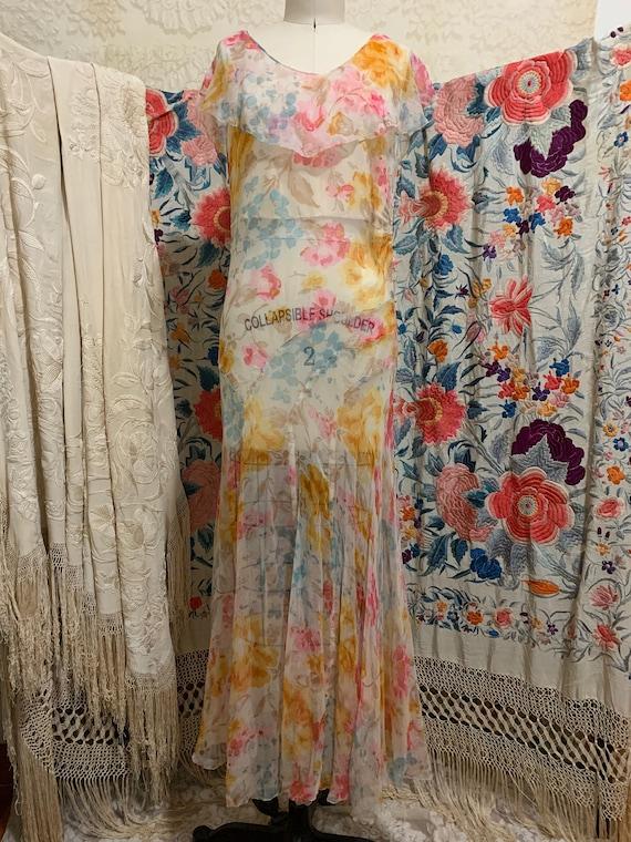 1930s Pastel Floral Silk Chiffon Bias Cut Dress [… - image 2