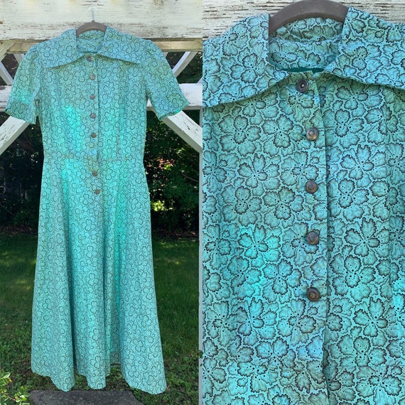 1940s Teal Cotton Floral Puffed Sleeve Dress [xs/s