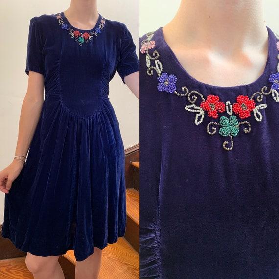 1930s Blue Silk Velvet Dress with Beading [xs/sm]