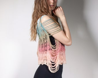 LOTUS   Ombre crochet shirt with open sides   S-M