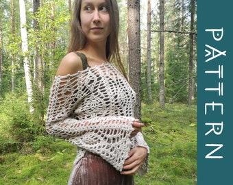 MOONFLOWER   PDF Pattern   Bohemian bell sleeve lace crochet top