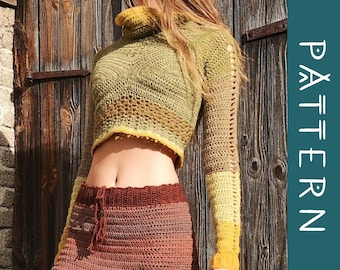 NUPPU   PDF Pattern   Crochet cowl neck cropped sweater with flower bud details