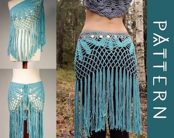 SUNDANCE   PDF Pattern   Multi-way bohemian crochet fringe skirt