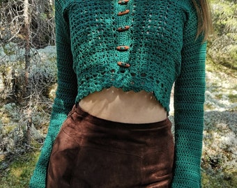 Emerald Green OLIVIA Cropped Crochet Cardigan with Wooden Buttons   size M
