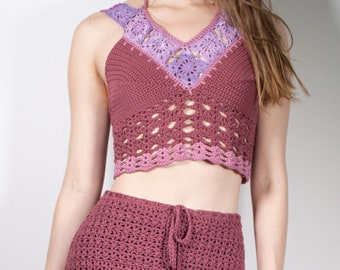BLOSSOM   Crochet crop top in rasberry red   XS-M   boho, bohemian, organic, fairy, hippie, one of a kind