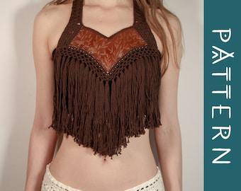 VALERIA   PDF pattern   Crochet fringe collar with leather neckline