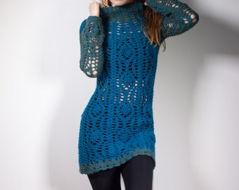 TEAL MOON   Dark turquoise wool tunic with turtle neck and long sleeves   S