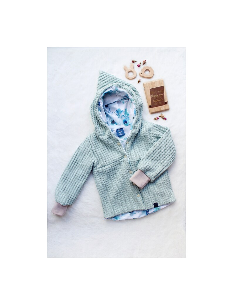 Cute Baby Zip Jacket Knit /& Jersey Flowers Blue Watercolor Unique handmade cozy Size 86 Baby jacket for transition Coat Spring Summer
