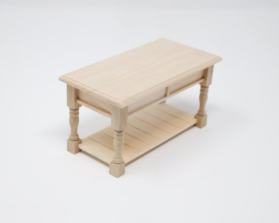 Dollhouse Miniature Unfinished Kitchen Table Kitchen Island Prep Table 1 12 Scale Furniture