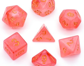 Pathfinder Sea Glass Rose Quartz Dice Set for Dungeons /& Dragons GIFT FOR GEEKS