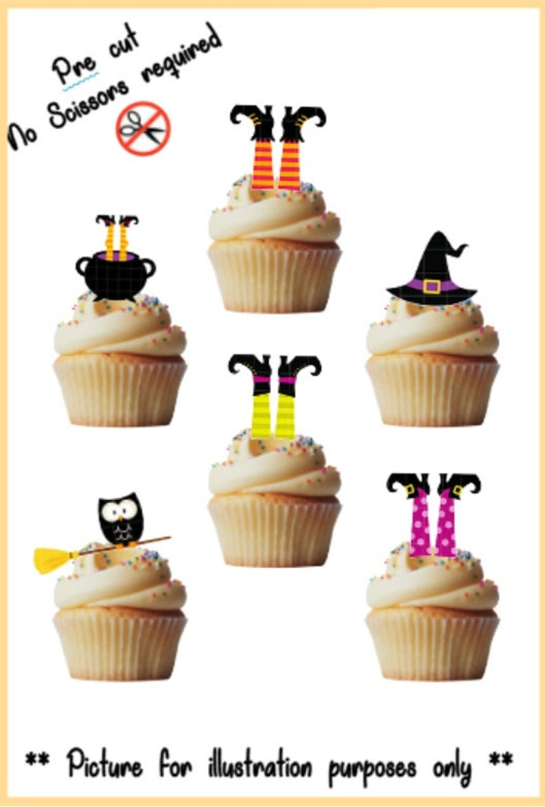 Halloween Witches stand up edible cupcake toppers