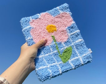 Pink Flower Mini Rug / Wall Decorative Rug / Flower Carpet / Coasters Rug