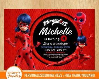 Miraculous Invitation Ladybug Birthday Party Personalized