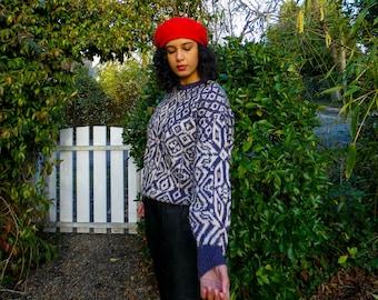 Italian Vintage Pure Wool Purple Geometric Sweater Pure Wool Sweater || Vintage Sweater || Cosy Women's Sweater || Winter Sweater