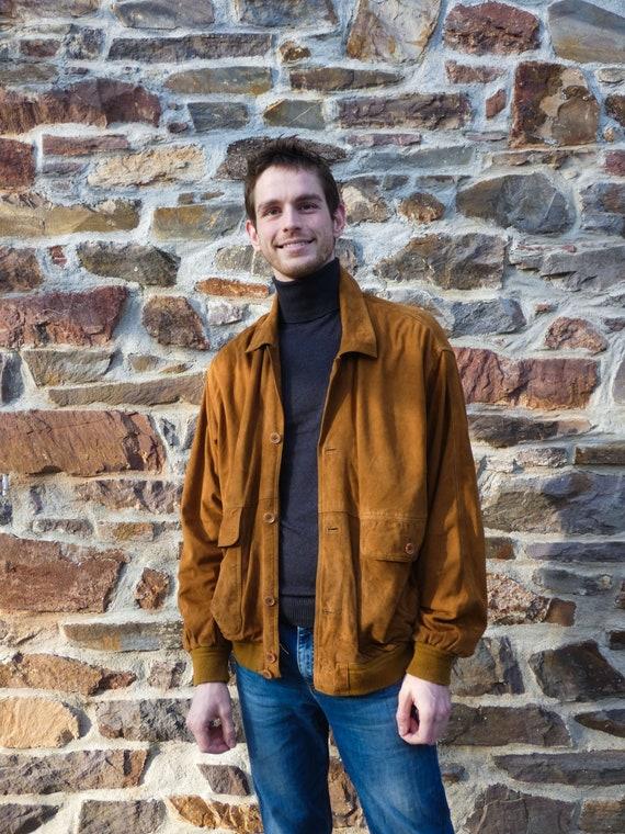 Vintage Tan Collared Suede Jacket Size L || Suede