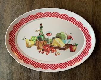 George Large  platter serving dish veggie tray gingham pattern Vintage Mid Century W.S