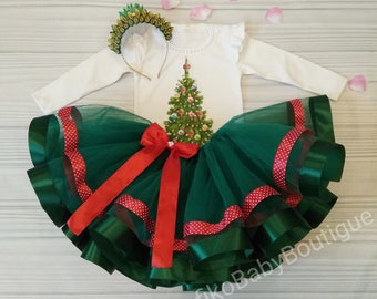 Green Christmas Tutu Christmas Tree Tutu Green New Year Outfit Outfit for Toddlers Baby Dress Green Tutu Christmas Trees Christmas Photo