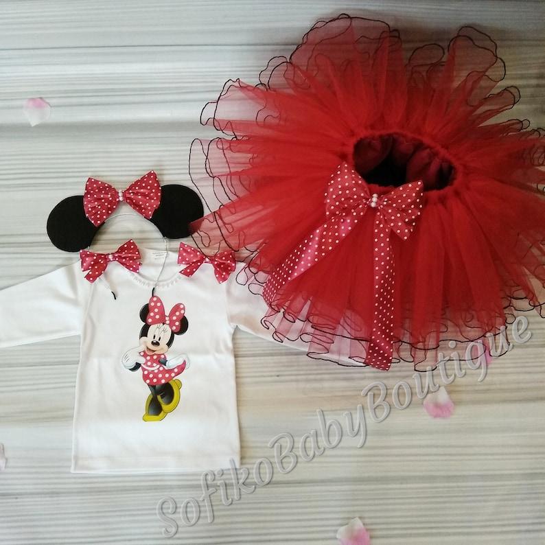 Red Mikki Minnie Mouse Suit Tutu Skirt Birthday Outfit For 1st 2st 3st Birthday Tutu Outfit Disney Birthday Minnie Mouse Dress For Girls