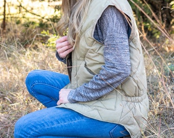 Vintage Puffer Vest / Down Puffer Vest / Tan Puffer Vest / Vintage Wall's Vest / Vintage Quilted Vest / Warm Vintage Vest
