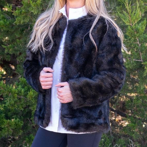 Faux Fur Coat / Handmade Vintage Coat / Vintage Fa