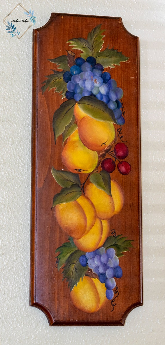 Painted Peach Wall Plaque Vintage Kitchen Decor Etsy