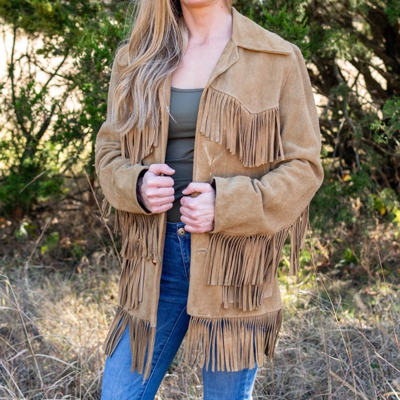 Suede Fringe Jacket / Vintage Leather Jacket / Vin